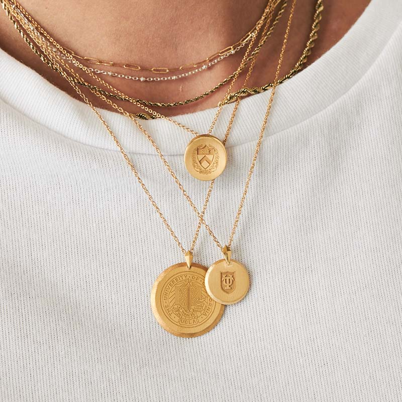 Gold Theta Tau Gear Necklace on Model
