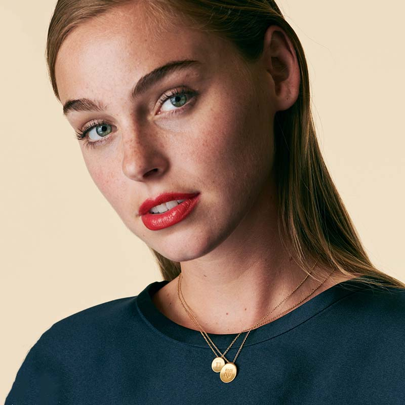 Gold Alabama Organic Crest Necklace Size Guide
