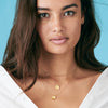 Purdue Boiler Up Necklace Gold on Kelsey Merritt