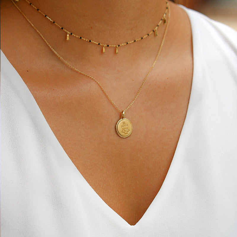Gold Sigma Delta Tau Sunburst Crest Necklace on Model