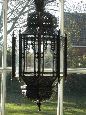 Moroccan long  iron lantern with clear glass