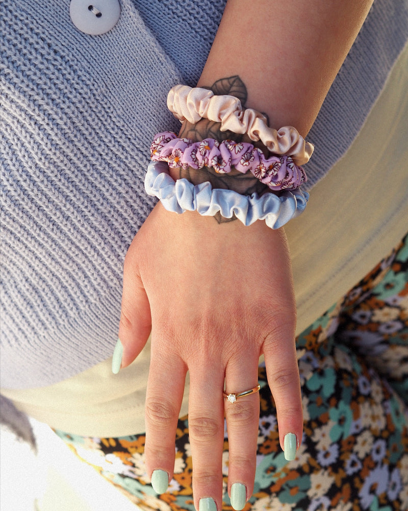 SCRUNCHIE 3ER-SET FLORAL VIOLET
