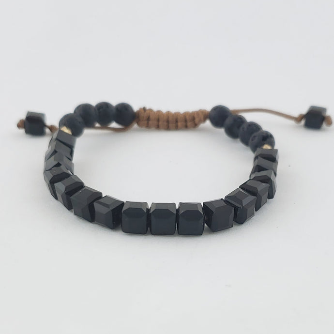Black Obsidian Glass Adjustable Lava Stone Diffuser Bracelet