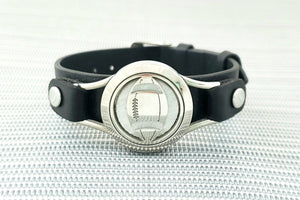 Football Pendant Wide Strap Bracelet