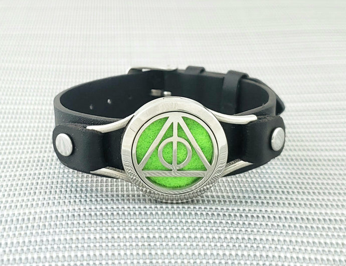 Deathly Hallows Pendant Wide Strap Bracelet