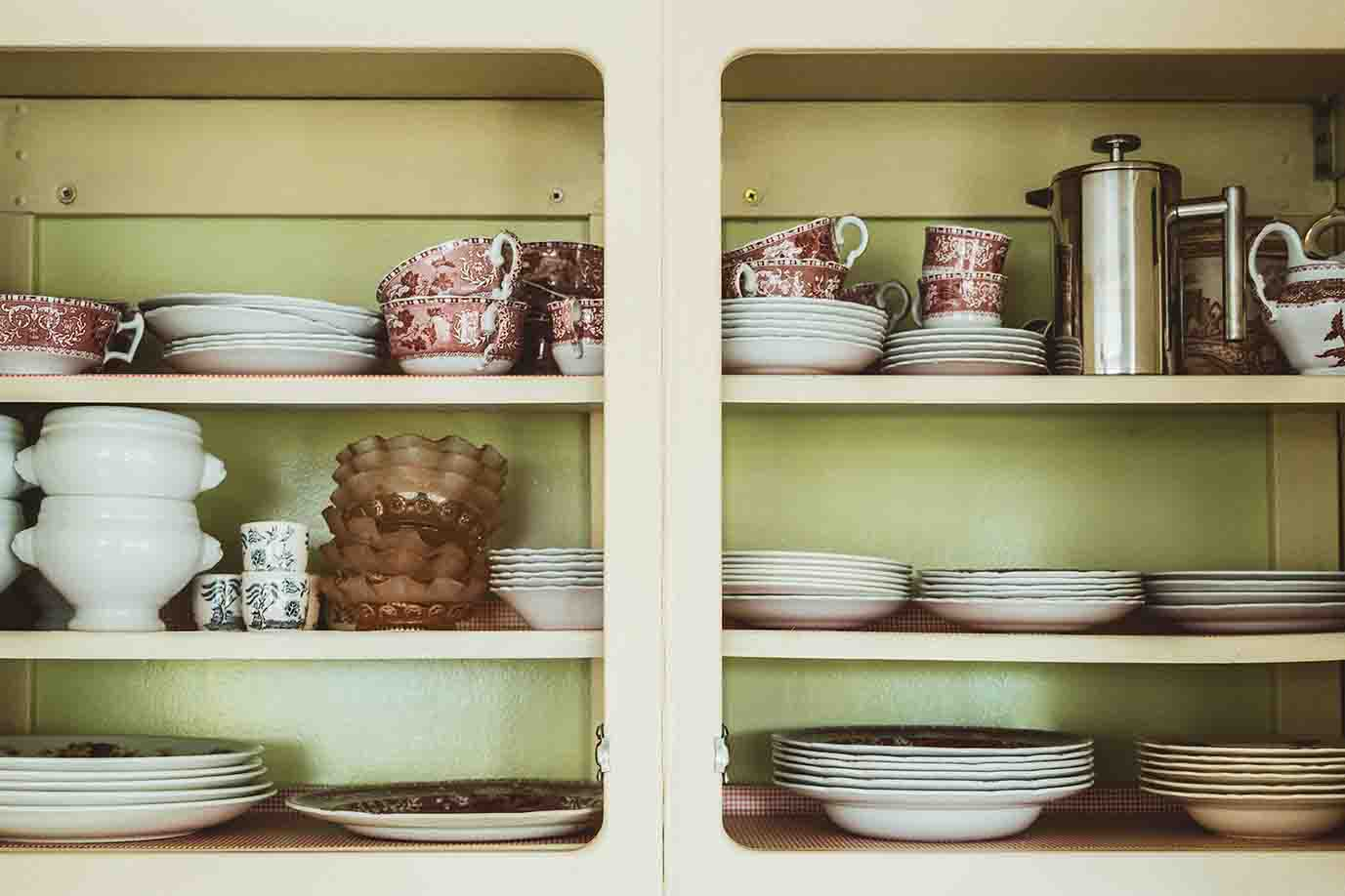 rustic open cabinets