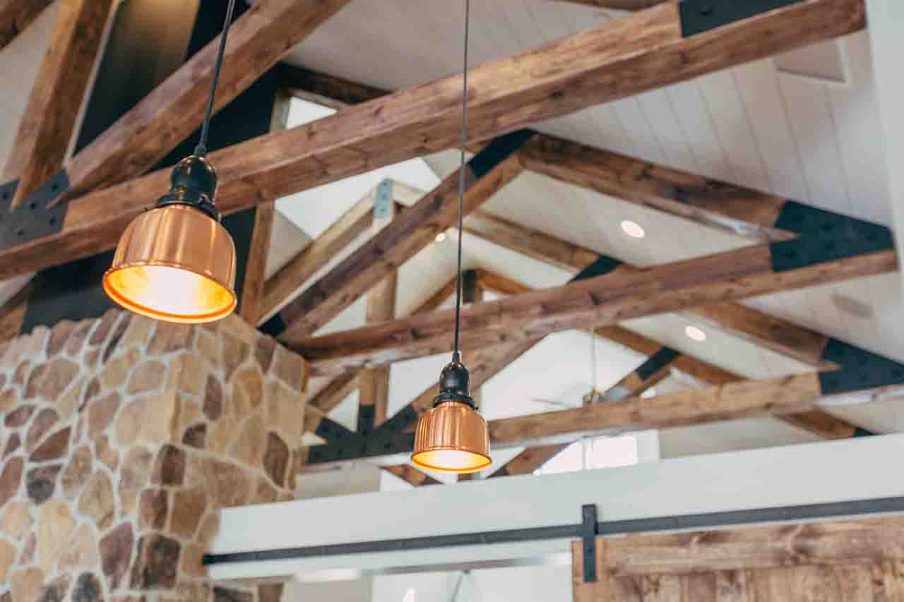 exposed wood ceiling beams
