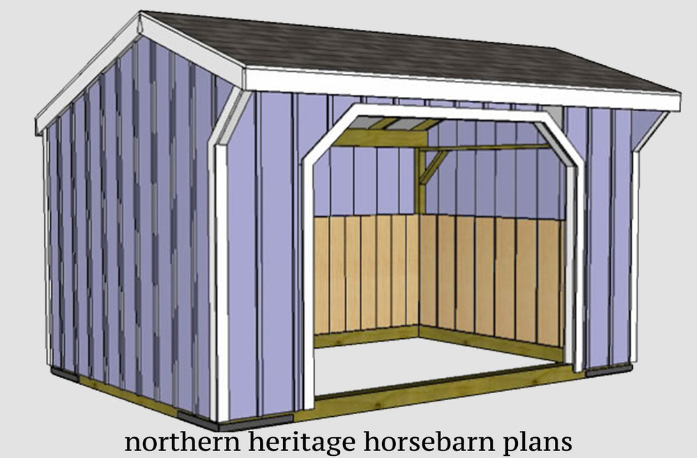 10x14 Run in/loafing Horse Barn Plan