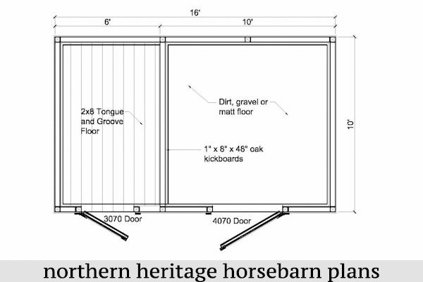 10x16 Horse Barn Plan with added tack room bonus (1-10x10 stall - 1-10x6 tack room)