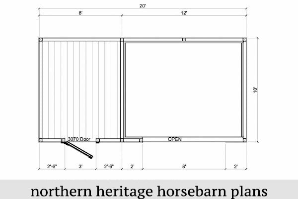 10x20 Run in/loafing Horse Barn Plan with added tack room bonus