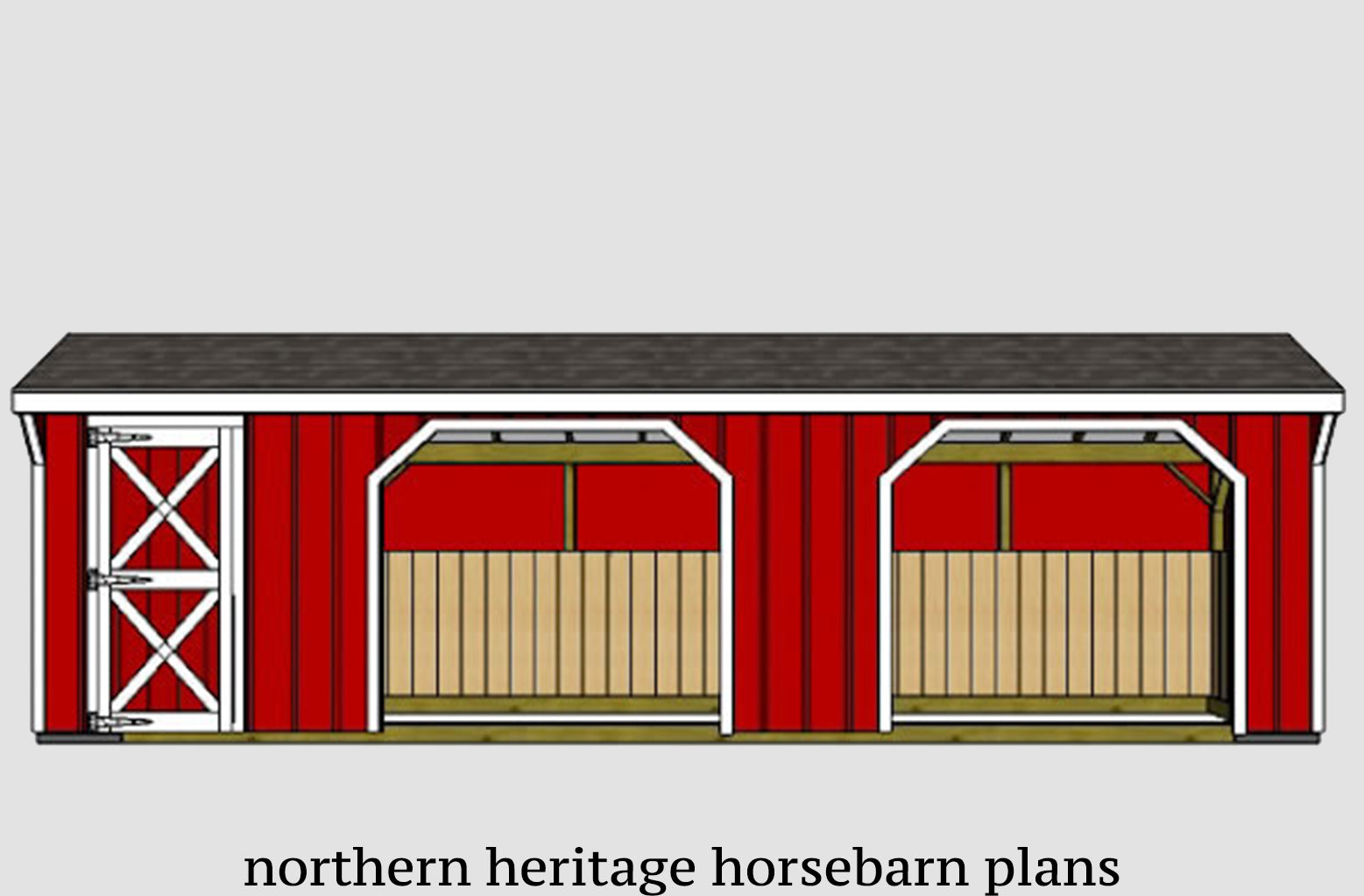 10x30 Run In Loafing Horse Barn Plan With Added Tack Room Bonus 2 10x Northern Heritage Horsebarn Plans