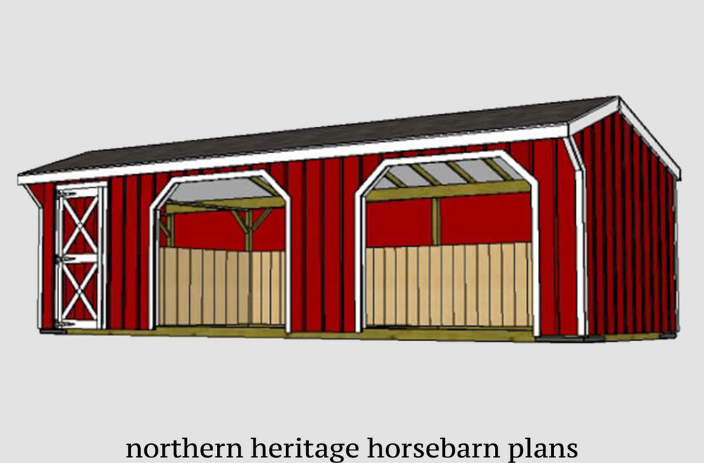 10x30 Run in/loafing Horse Barn Plan with added tack room bonus (2-10x12 stalls and 1-10x6 tack)