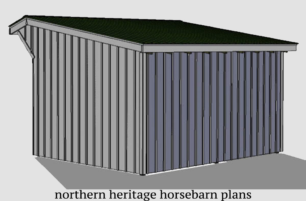 12x16 Run in/loafing Horse Barn Plan with added sloped roof overhang