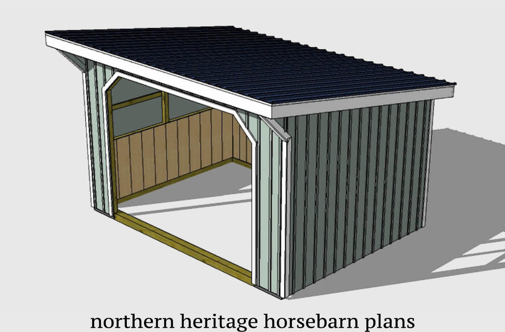 12x16 Run in/loafing Horse Barn Plan