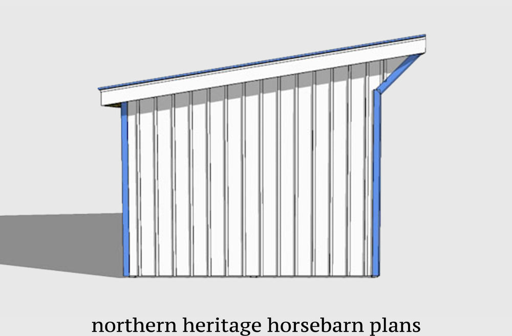 12x18 Run in/loafing Horse Barn Plan