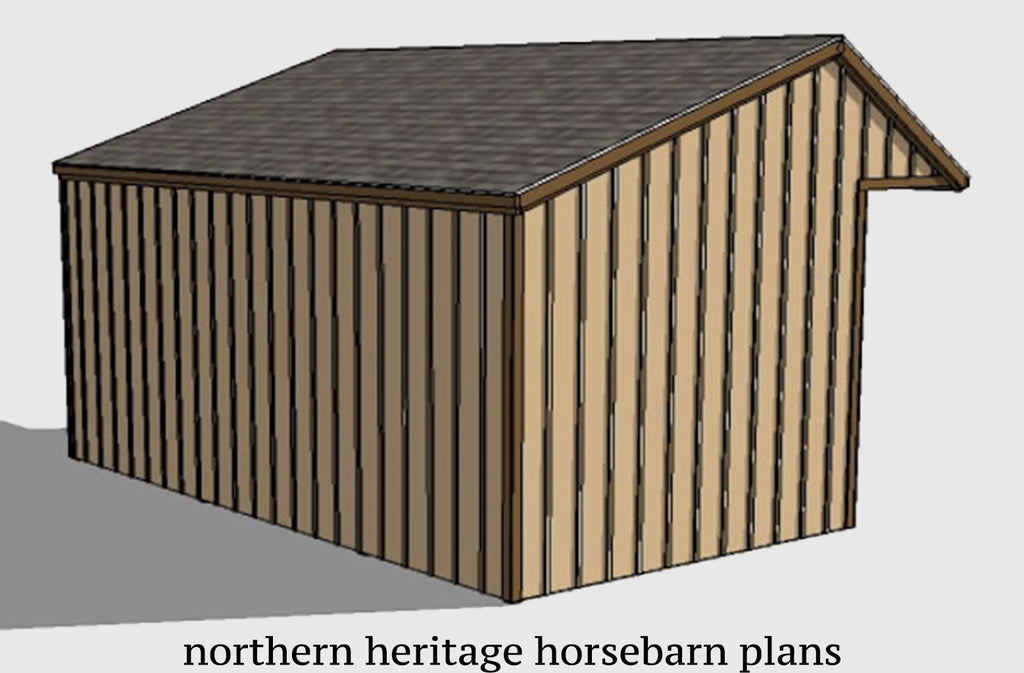 12x22 Run in/loafing Horse Barn Plan with added tack room bonus and cantilever