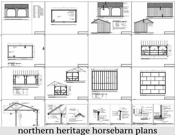 12x24 Run in/loafing Horse Barn Plan with Tow Hooks