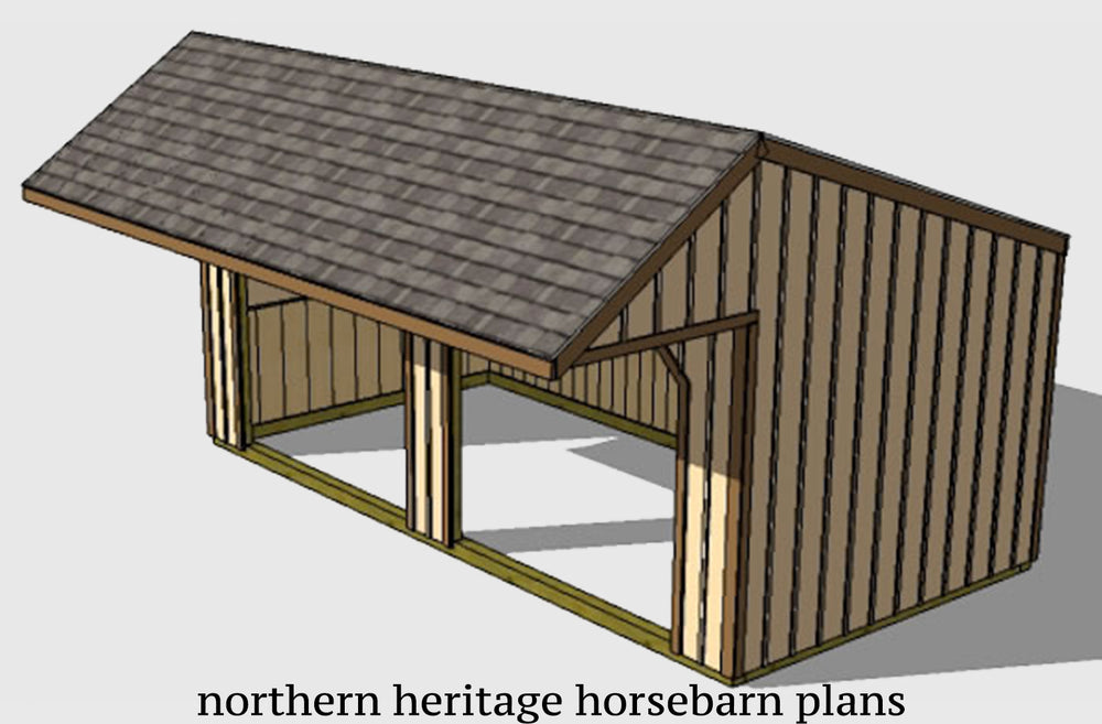 12x20 Run in/loafing Horse Barn Plan with added cantilever roof overhang