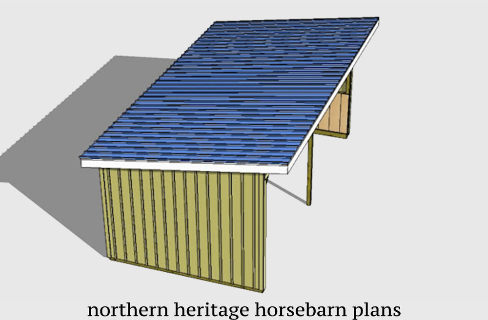 12x24 Run in/loafing Horse Barn Plan