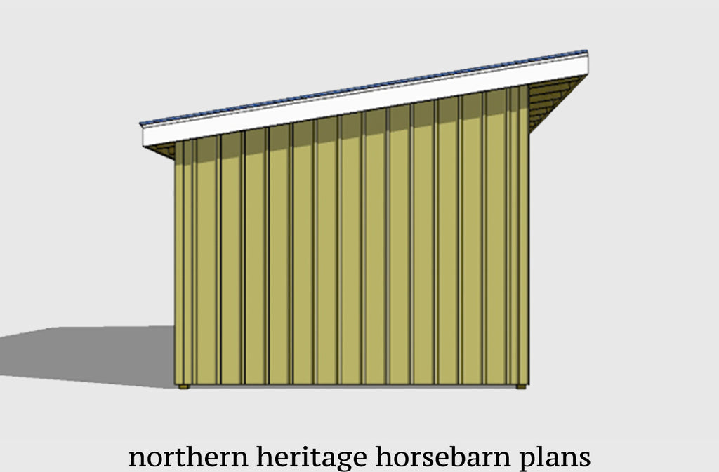 12x24 Run in/loafing Horse Barn Plan with added tack room bonus