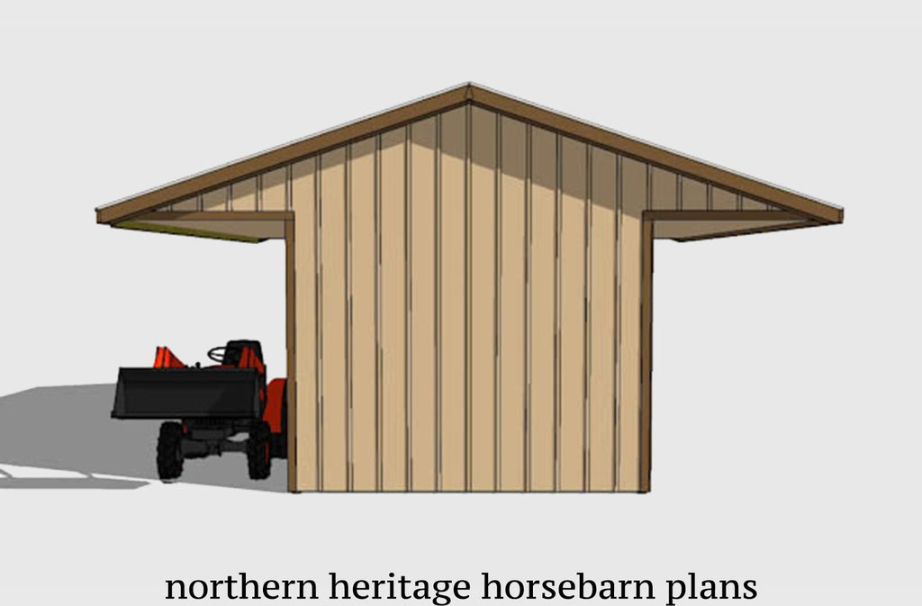 12x30 Horse Barn Plan with added tack room bonus- 3 stall