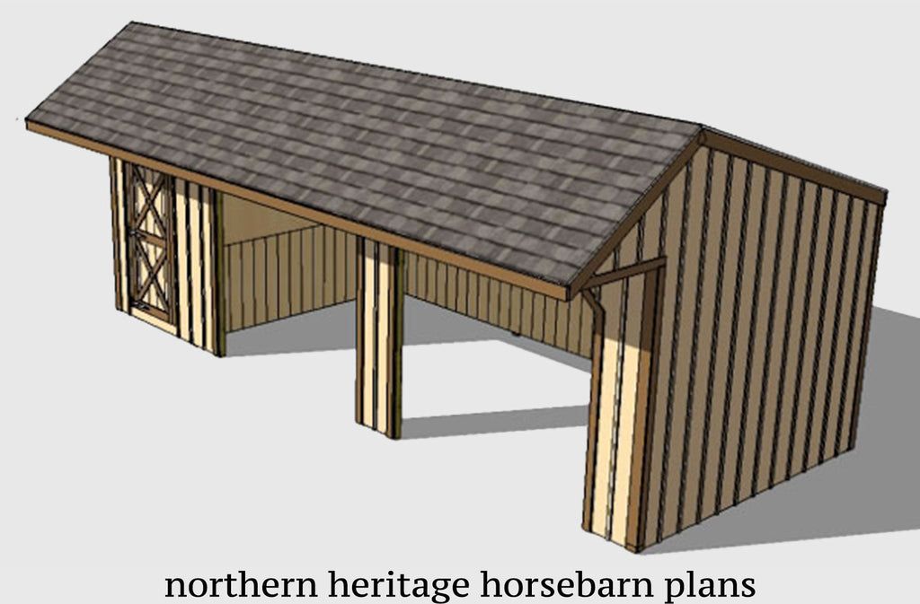 12x30 Run in/loafing Horse Barn Plan with added tack room bonus and cantilever