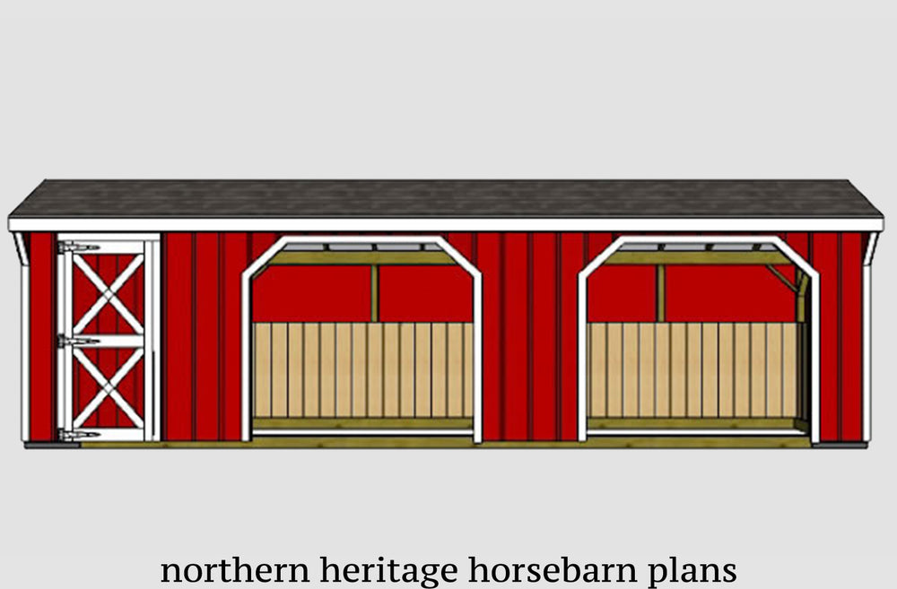 12x30 Run in/loafing Horse Barn Plan with added tack room bonus (2-12x12 stalls and 1-12x6 tack)