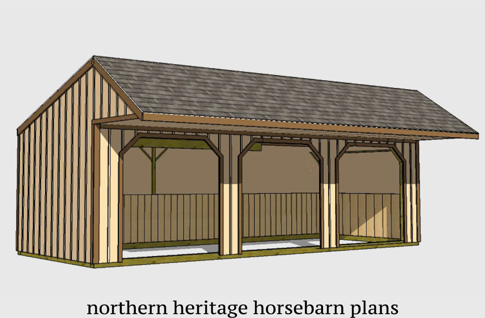12x32 Run in/loafing Horse Barn Plan with added cantilever