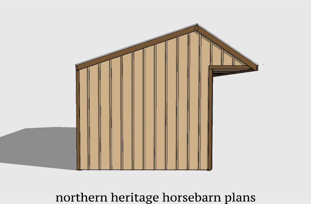 12x36 Run in/loafing Horse Barn Plan with added cantilever