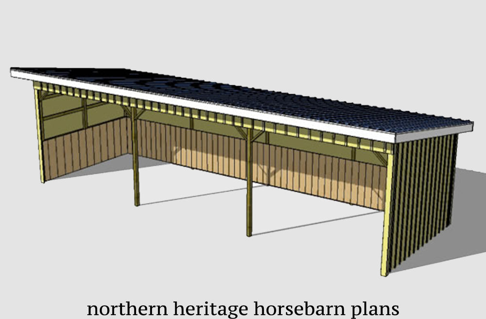12x36 Run in/loafing Horse Barn Plan