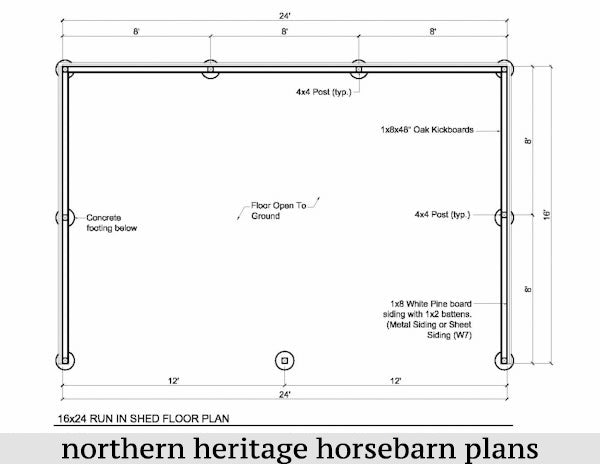 16x24 Run in/loafing Horse Barn Plan