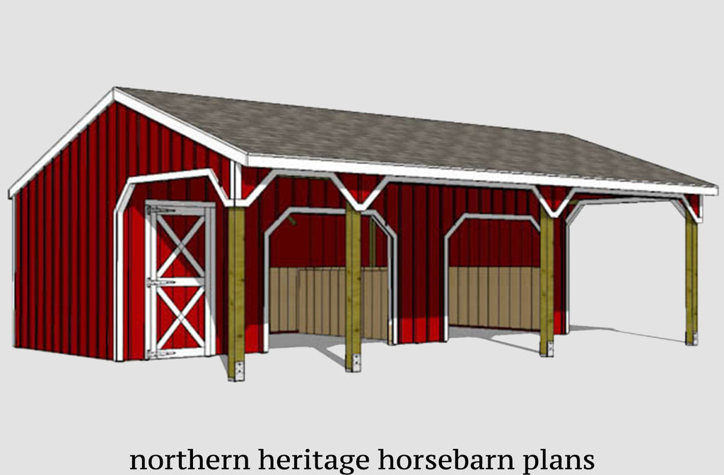 22x30 Run in/loafing Horse Barn Plan with added bonus tack room and convenient breezeway
