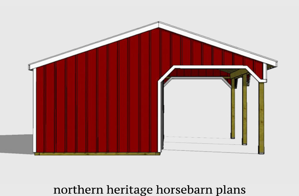 22x24 Lean to Horse Barn Plan- 2 stall