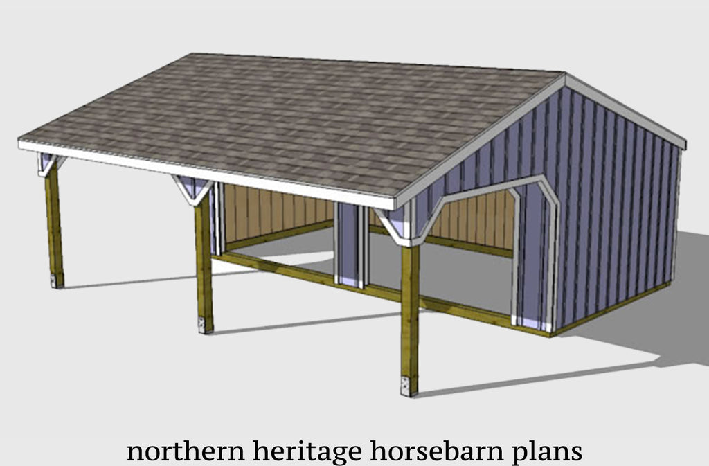 22x24 Run in /loafing Horse Barn Plan