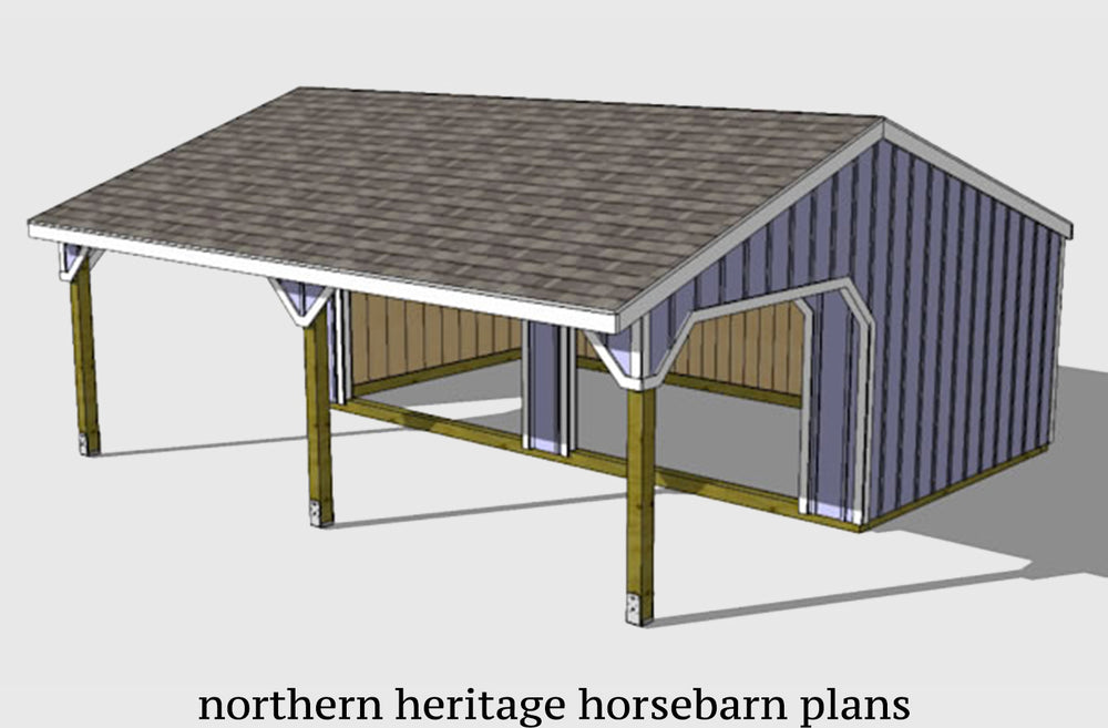 22x24 Run in/loafing Horse Barn Plan