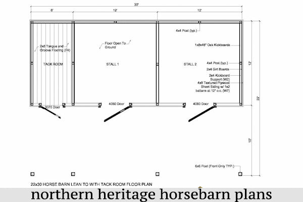 22x30 Lean to Horse Barn Plan with added bonus tack room- 2 stall