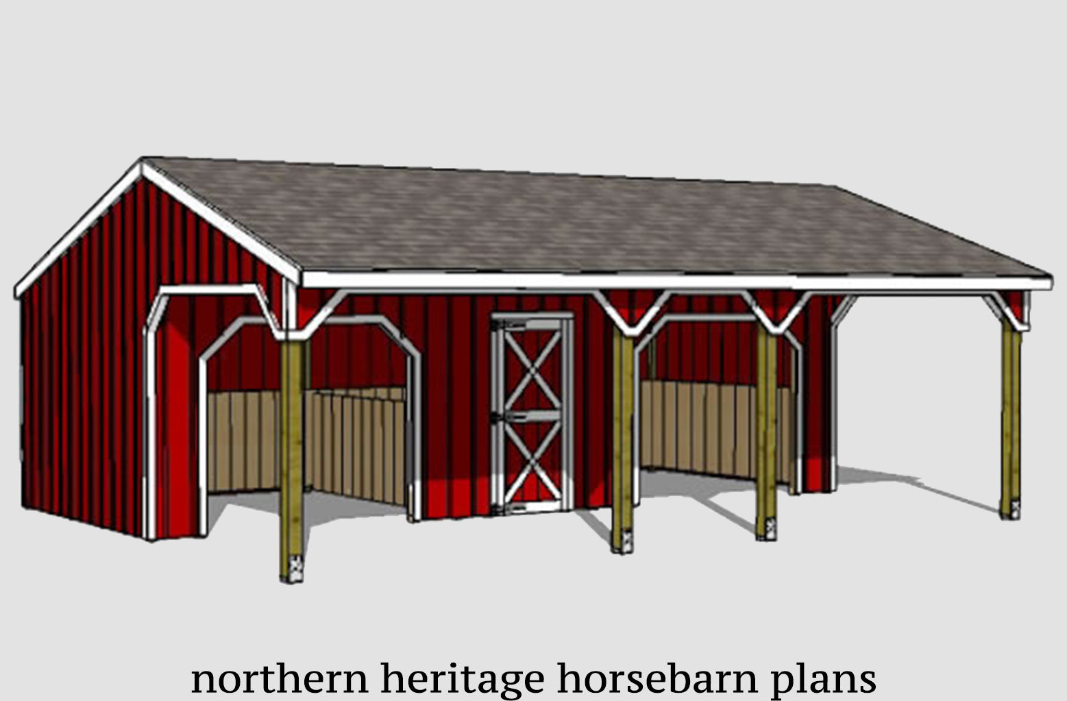 22x30 Lean To Run In Loafing Horse Barn Plan With Added Tack Room And Northern Heritage Horsebarn Plans