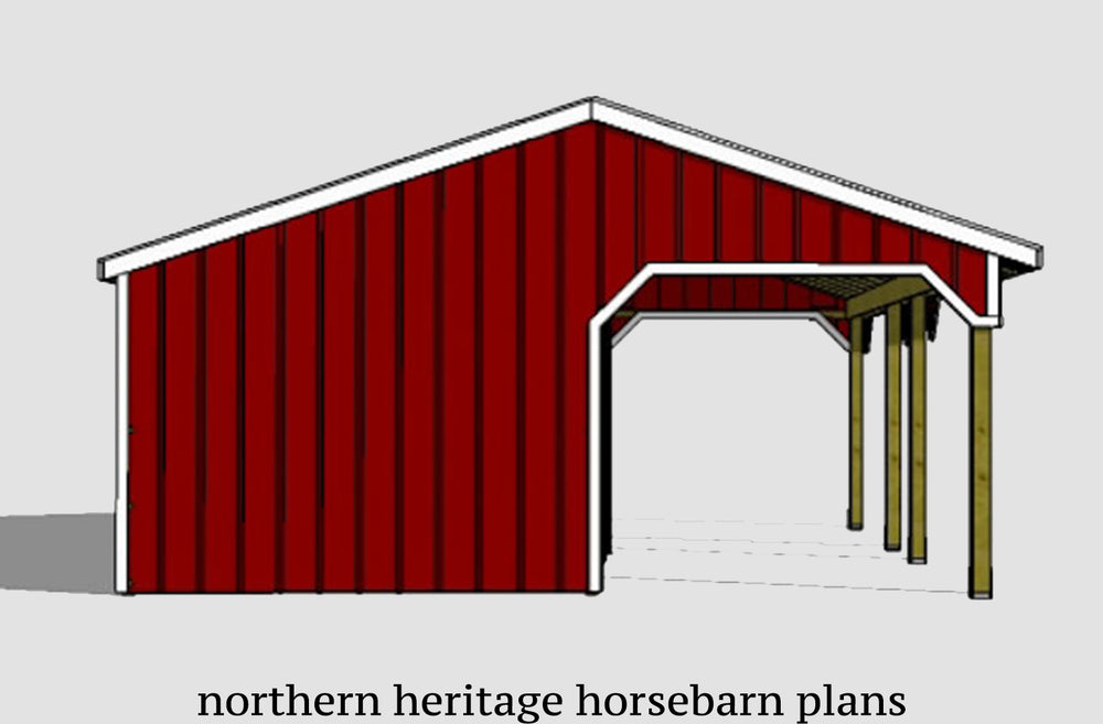 22x30 Lean to Run in/loafing horse barn plan with added tack room and bonus breezeway