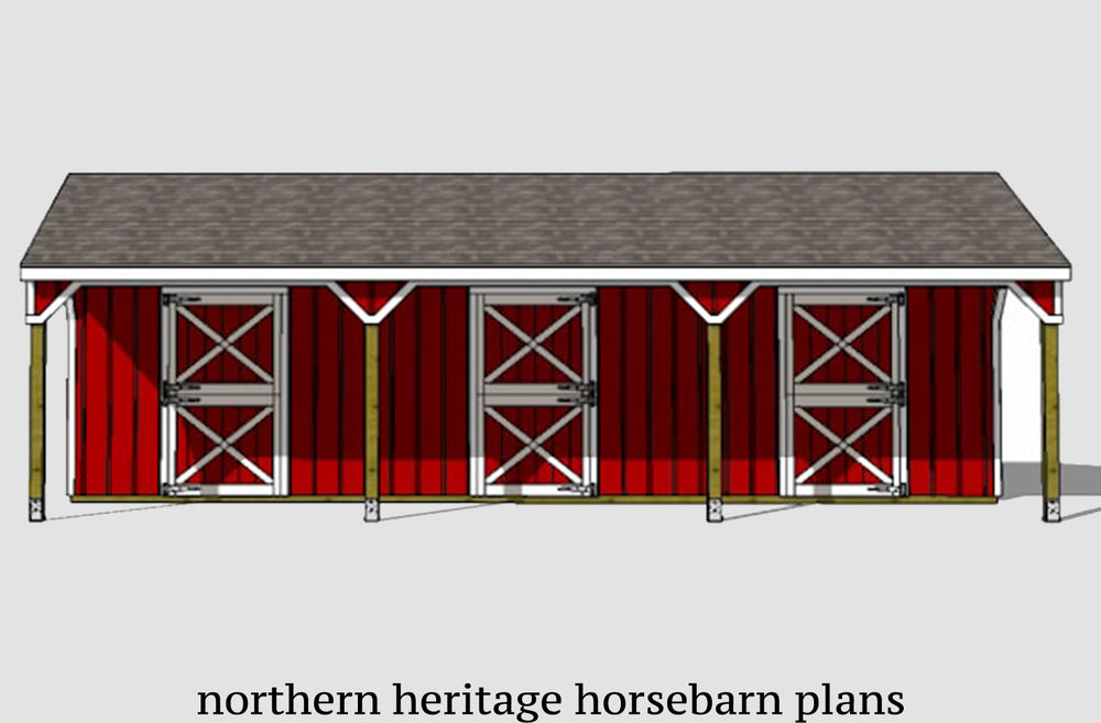 22x36 Lean to Horse Barn Plan- 3 stall