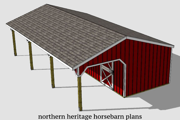 22x26 Horse Barn Plan with added tack room bonus (10x12 stall)