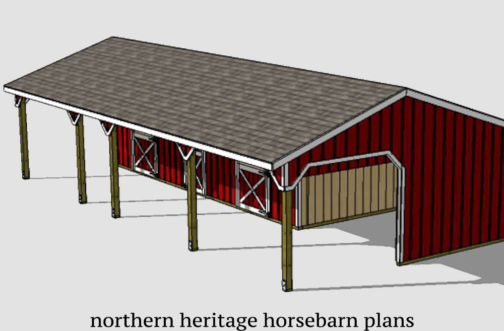 22x42 Horse Barn Plan with added tack room bonus - 1 open stall