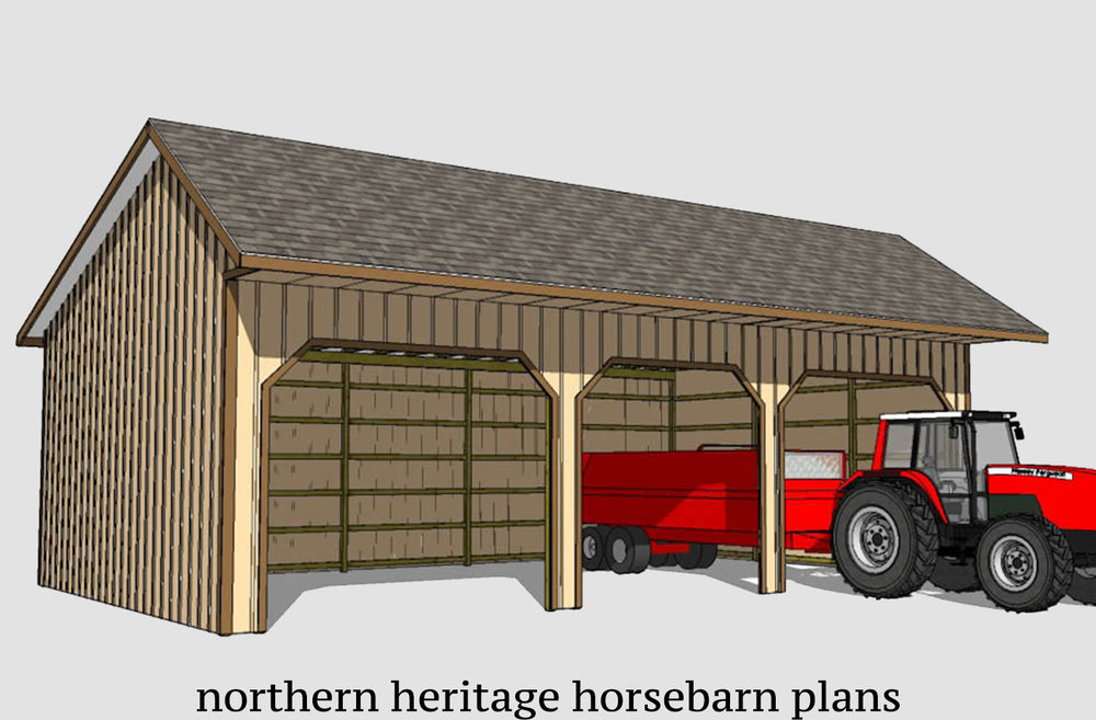 24x40 Run in/loafing Horse Barn Plan