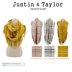 Plaid Plush Infinity Scarf Mustard 10195