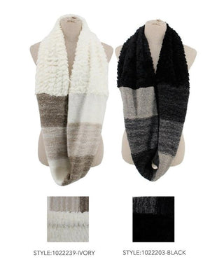 Color Blocked Faux Fur Scarf