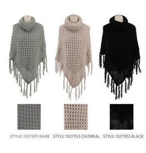 Open Knit Turtleneck Poncho