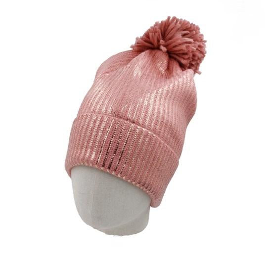 Metallic Ribbed Beanie