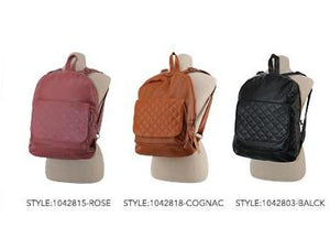 Faux Leather Quilted Backpack