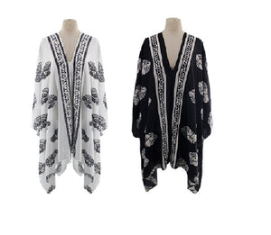 Woven Floral Poncho
