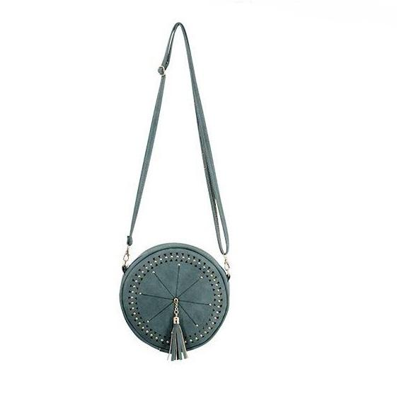Studded Round Tassel Cross Body