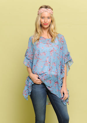 Ruffle Sleeve Floral Poncho